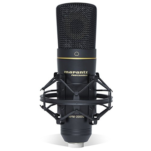 Marantz Professional MPM-2000U | Studio Condenser USB Microphone with Shock Mount, USB Cable & Carry Case (USB Out) (Piano Microphone Recording)