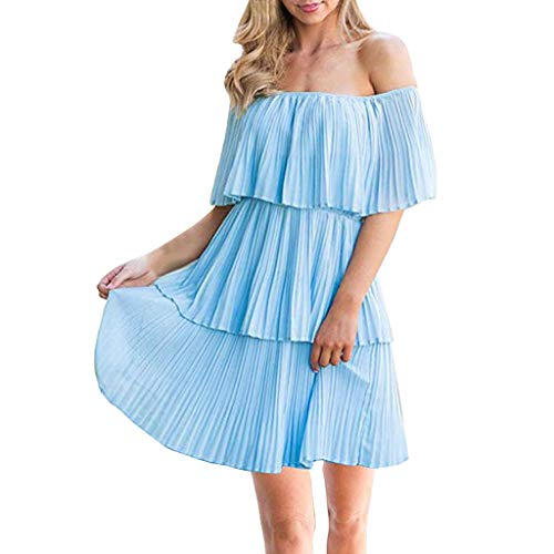 kemilove Women's Casual Summer Loose Off The Shoulder Sleeveless Tiered Ruffle Pleated Short Party Cocktail Dress Sky Blue ()