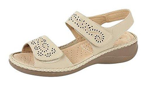 Boulevard Womens Velcro Comfort Sandals Size 3-8 Beige hEm0K5qCP