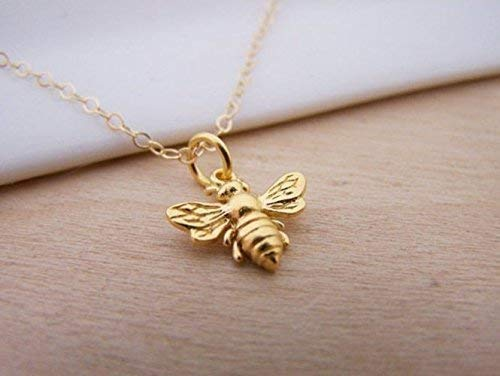 c2065f6b1ddd5 Amazon.com: Bumble Bee Charm 14k Gold Filled Dainty Necklace: Handmade