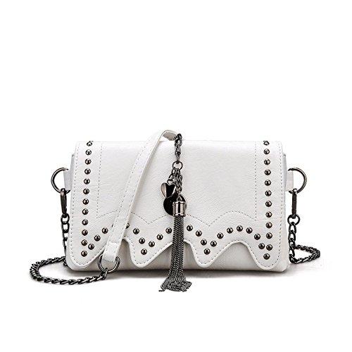 PU Chaîne DHFUD à Sac Rivet Womens Sac Bandoulière Mode Bag Main à White Messenger 15SAwx