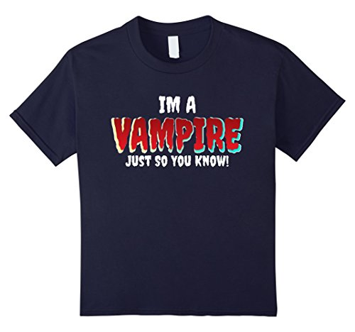 Kids Im A Vampire T Shirt - Cool Halloween Alternative Costume 12 Navy (Crazy Cool Halloween Costumes)