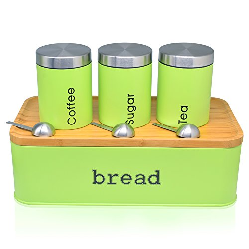 Bread Box For Kitchen, Stainless Steel Bread Bin with Cutting Boards,Storage Container For Loaves,Boudin Bakery,Baguette,Bread holder for Baked Bread with Set of 3 Canister- Apple (Apple Canister Sets)