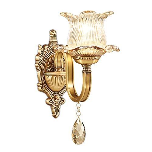 JZX Lámpara Retro, lámpara candelabro de Pared, lámpara de mesita de Noche de salón de Dormitorio de Cristal Simple de...