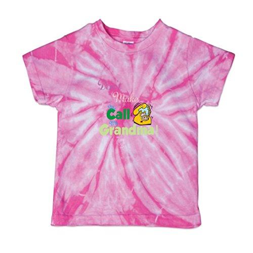 Call Tie Dye T-shirt (Don T Make Me Call My Grandma Baby Kid 100% Cotton Tie Dye Fine Jersey T-Shirt Tee - Pink, 4T)