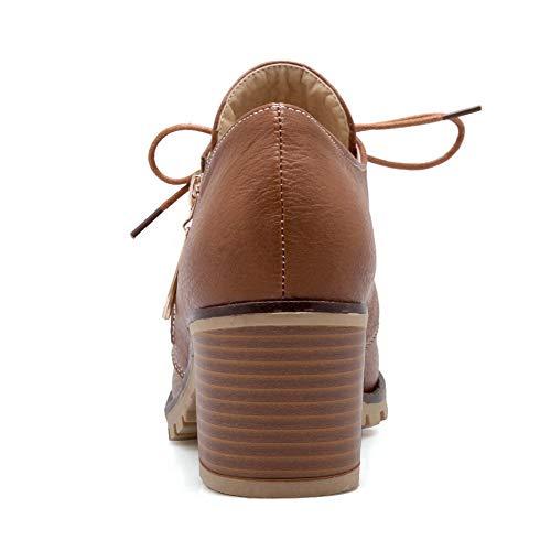 Puro Donna AllhqFashion Tacco Marrone Allacciare FBUIDD006385 Medio Luccichio Flats Ballet vpXXqdW