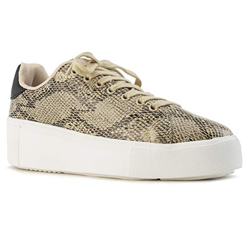 Women's Casual Low Top Platform Fashion Sneakers Flats Beige Black Snake Size.7 (Animal Print Platform)