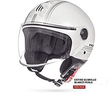 Casco Mt Jet Street Entire, color Blanco Perla, T.M