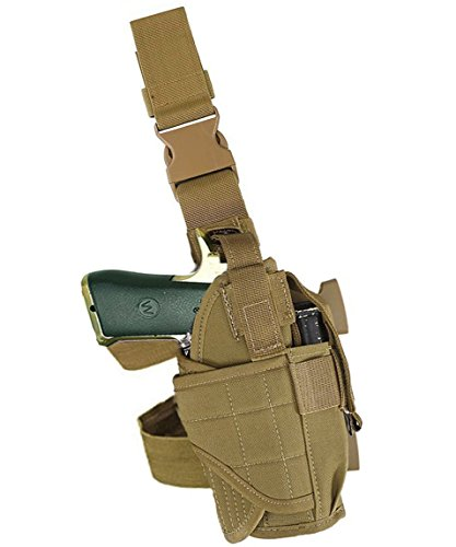 Terrernce Molle Tactical Pistol Thigh Gun Holster, Drop Leg Holster, Right Hand Adjustable (Brown)