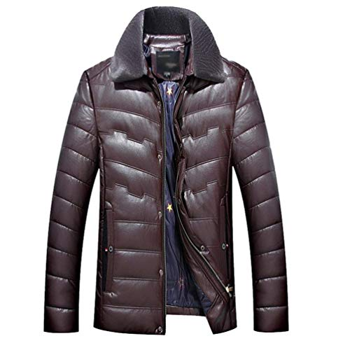 Collar Long Imitation Pu Quilting Thick Lining Warm Classic Burgund Men's Overcoat Jacket Winter Leather Overcoat Apparel Stand ngwXSx0PWf