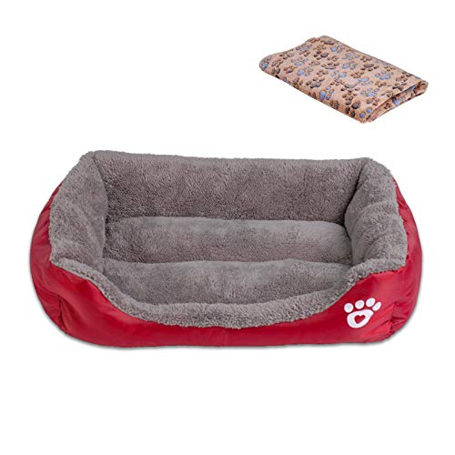 Cookisn Candy Color Pet Dog Bed Soft Puppy Cushion Winter Warm Cat Bed Pet Sofa Bed for Dogs Chihuahua Labrador Bed Dog Blanket Wine Red 2XLBed and L ...