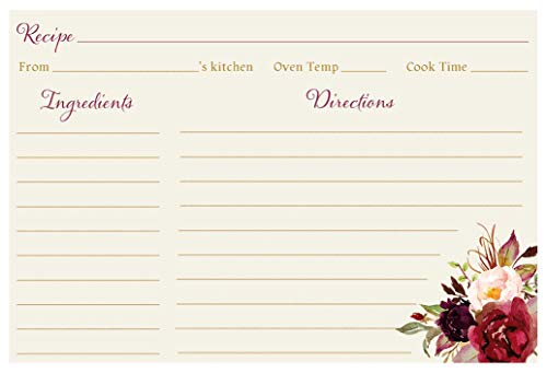 Recipe Cards, Floral, Burgundy Blooms Bridal, Ivory, Burgundy, Painted, Watercolor, Floral, Botanical, Flowers, Recipe Exchange, Bridal Shower, Wedding, 24 Packof Double Sided Printed Recipe -