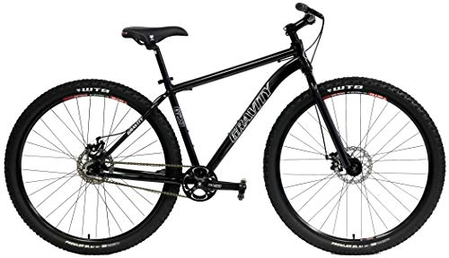Gravity G29 SS 29er Single Speed Mountain Bike + Lock Out Suspension Fork Disc Brakes (Gloss Black, 17.5