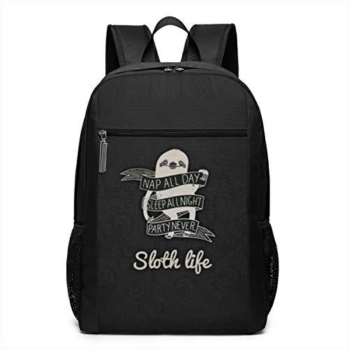 JUSTFORU Shop Sloth Life Water Resistant Schoolbag Backpack Bookbag Shoulder Bag, Casual Unisex Rucksack for Travel Outdoor Camping,Fits Laptop/Notebook for Men and Women