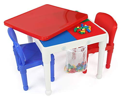 (Tot Tutors Kids 2-in-1 Plastic Building Blocks-Compatible Activity Table and 2 Chairs Set, Square, Primary Colors)