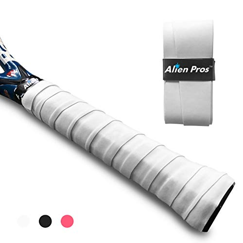 Alien Pros Tennis Racket Grip Tape (1 Grip) – Precut and Dry Feel Tennis Grip – Tennis Overgrip Grip Tape Tennis Racket – Wrap Your Racquet for High Performance (1 Grip, White)
