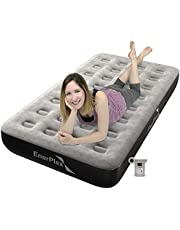 EnerPlex Never-Leak Camping Series Twin Camping Airbed with High Speed Pump Luxury Twin Size Air Mattress Single High Inflatable Blow Up Bed for Home Camping Travel 2-Year Warranty – Grey/Black