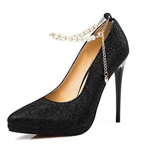 Easemax Femmes Élégantes Paillettes Chaînes Perlées Bout Pointu Bas Haut Talon Stiletto Pompes Chaussures Noir