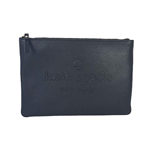 Black Leather Logo Pouch - Kate Spade Gia Large Pouch Soft Pebbled Leather Logo Embossed Clutch Bag Black
