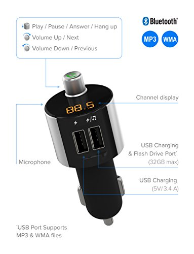 Just Wireless Bluetooth FM Transmitter, Wireless Bluetooth FM Radio Transmitter with Hands-Free Calling and 2 USB Ports by Just Wireless (Image #1)