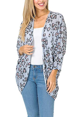 Auliné Collection Womens USA Made Casual Cover Up Cape Gown Robe Cardigan Kimono LT3778 Leopard Heather Blue M (Silk Leopard Cardigan)