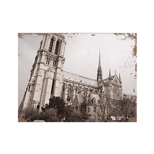 Opus Queen Bed - GOVOW Vintage Cathédrale Notre Dame de Paris Painting Wall Art Paris France Rose Window Gothic Architecture Opus Francigenum Hotels,Bedroom,Shome Decor 30x40x0.9cm