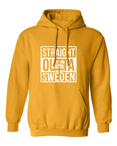 Tcamp New 2018 World Soccer Championship Straight Outta Sweden Pride Men's Hooded Sweatshirt (Gold, Adult XXX-Large) - Soccer Soccer Sweatshirt