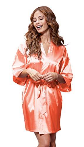 Turquaz Linen Satin Kimono Bridesmaids Robe (Large, Coral) ()
