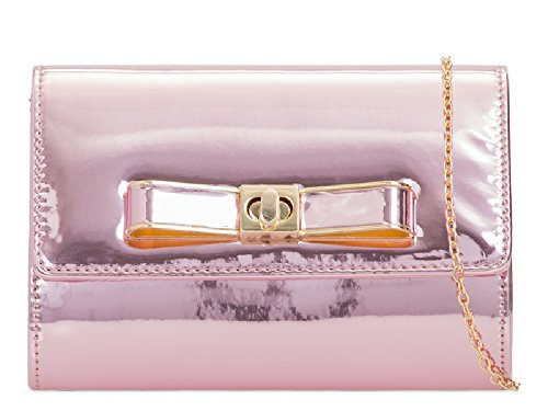 Clutch Women's Designer Bow Faux Pink K963 Bag Style Ladies Bag Envelope Patent Handbag Purse 40qwFC8