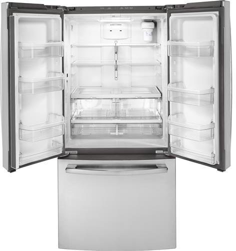 GE GWE19JSLSS 33 Inch Counter Depth French Door Refrigerator with 18.6 cu. ft. Total Capacity in Stainless Steel