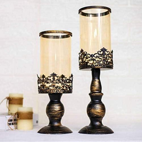クリスマスキャンドルホルダーロマンチックな3サイズブロンズガラスキャンドルホルダークリエイティブ鉄燭台ガラスキャンドルライトディナー小道具ライト、小、大