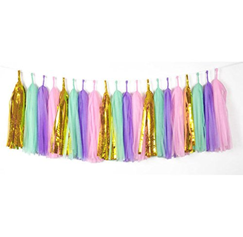 20 PCS Tissue Paper Tassels, Tassel Garland Banner for Wedding, Baby Shower and Party Decorations, DIY Kits - (Metallic Gold+Light Purple+Pink+Green) (Tissue Paper Banner)