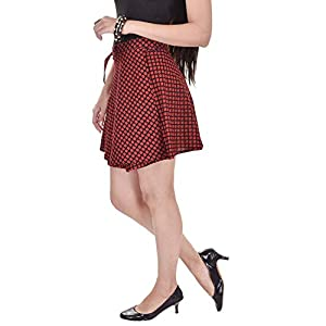 Pezzava Women Mini Skirt (PEZ-FWCM-A1_Red_Free Size)