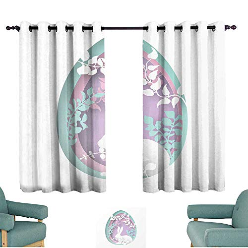 Simple curtain Easter paper art spring forest with grass branches leaves trees covered with climbers and rabbit Easter egg shape Holiday origami concept nature and animals idea privacy protection