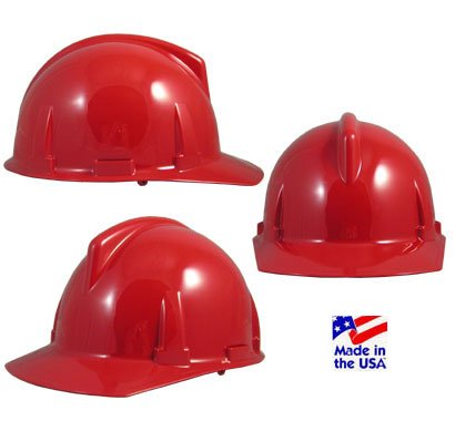 MSA 475384 Topgard Slotted Protective Cap with Fas-Trac Suspension, Standard, Red ()