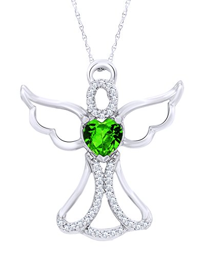 14K White Gold Over Sterling Silver 0.125 CT Diamond Angel Heart Pendant 18