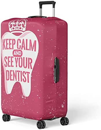 Pinbeam Luggage Cover Dental Care Motivation Dentist Day and Tooth Travel Suitcase Cover Protector Baggage Case Fits 26-28 inches
