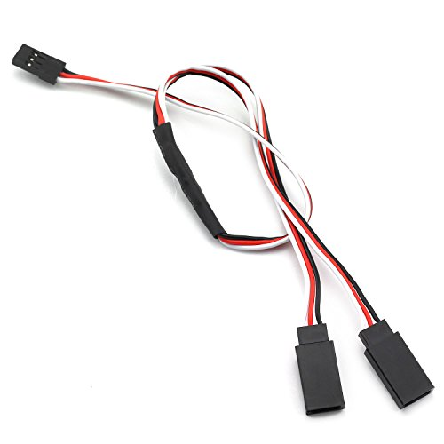 ZRM&E 1 Pack 300mm Y Style 3-Pin Servo Extension Cord For RC Airplane JR Futaba Servo Accessories Servo Plugs Connector 1 Male to 3 Female Cable Splitter ()