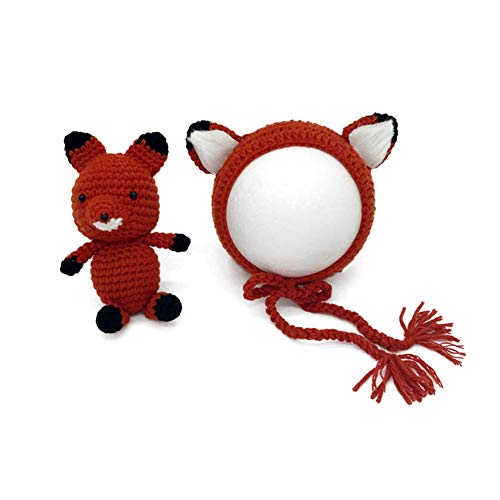 Newborn Girls Boys Handmade Knit Baby Photo Props Outfits Fox Hat and Doll Set (Orange) -
