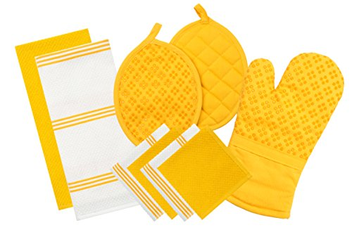 Kitchen Textiles (Sticky Toffee Silicone Printed Oven Mitt & Pot Holder, Cotton Terry Kitchen Dish Towel & Dishcloth, Yellow, 9 Piece Set)
