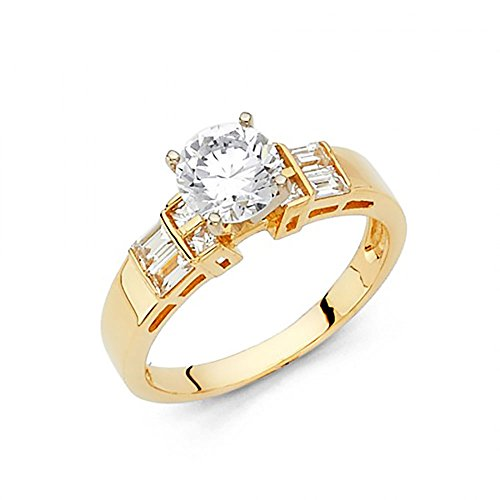 14k Yellow Gold Round Brilliant Cut CZ Engagement Ring with Channel Set Baguettes