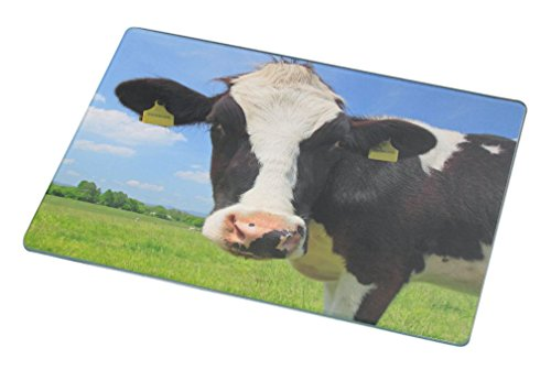 Design Mincing Board (Rikki Knight RK-LGCB-51 Cow Face Close-Up Design Glass Cutting Board, Large, White)