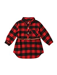 Karuedoo Kids Little Boys Girls Long Sleeve Button Down Red Plaid Flannel Shirt Dress with Belt