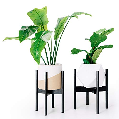 Plant Stand Indoor, Outdoor Retro Mid Century Modern Expandable Plant Holder for Living Room, Office, Bamboo Wood Display Stand, Black, by ICAVOO ()