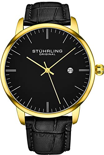 Stuhrling Original Mens Watch Calfskin Leather Strap - Dress + Casual Design - Analog Watch Dial with Date, 3997Z Watches for Men Collection (Black Gold) Casing Black Dial Watch
