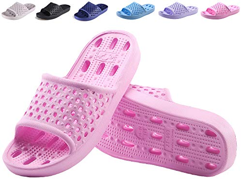 Hucook Bathroom Shoes Shower Sandals for Women Non Slip Bath Slippers Soft Lightweight Quick Drying Gym Slipper with Holes(Pink, 6.5-7 -