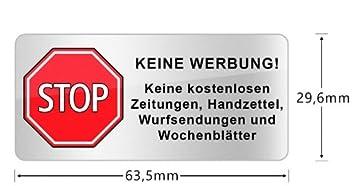 Haggiy Briefkasten Aufkleber Stop Keine Werbung64 30 Mm Mit 3 Jahren Uv Garantie Wetterschmutz Beständig Kein Papier