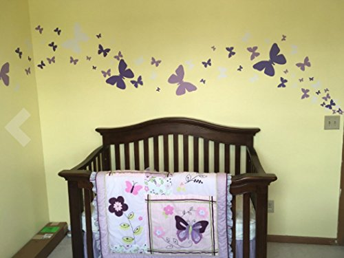 Butterfly Wall Decals- Girls Wall Stickers ~ Decorative Peel & Stick Wall Art Sticker Decals (Lilic,Lavender,White) by Create-A-Mural (Image #5)