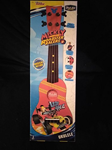 First Act Disney Junior Discovery Mickey Mouse and The Roadster Racers Let's Roll Musical Guitar Musical Action Easy to Play with Guitar Style Tuning Gears Ages 3+ New in Unopened Box