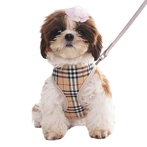 OFPUPPY Dog Harness for Small Dogs with Leash - Plaid Soft Air Mesh Padded - for Chihuahua Pug Little Puppies Beige